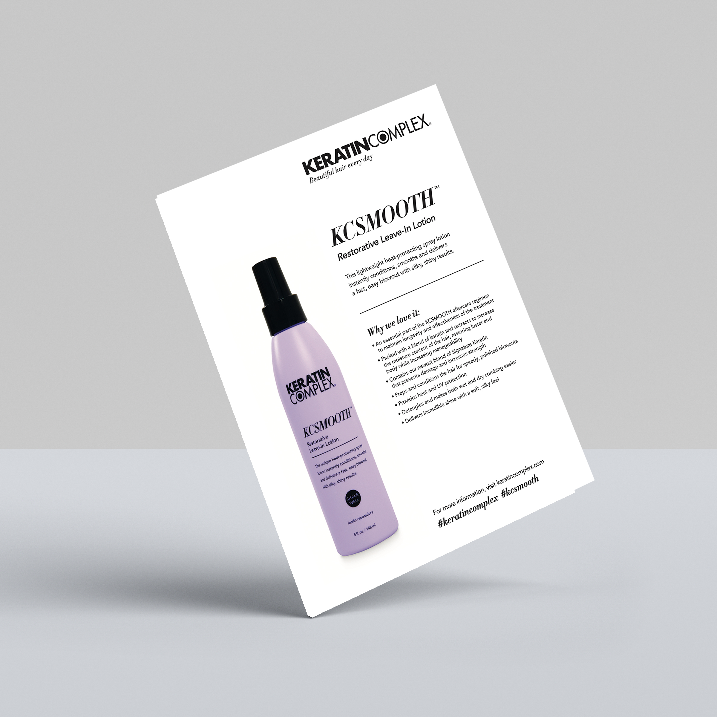 KCSMOOTH Restorative Leave-In Lotion Info Sheet
